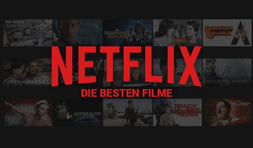 Netflix Schriftzug vor Screenshot der Netflix Mediathek mit ausgewählten Filmen