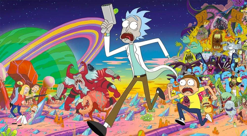 Rick und Morty rennen schreiend vor einer Horde bunter intergalaktischer Monster davon