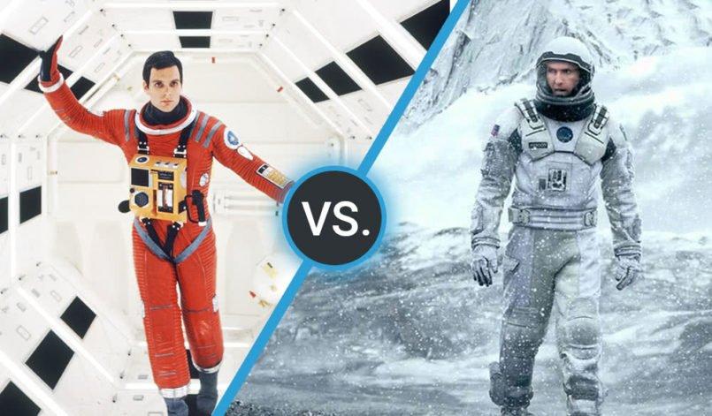 Collage der Filmplakate der Filme 2001 Odyssee im Weltraum und Interstellar