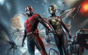 Illustration von Paul Rudd als Ant-Man und Evangeline Lilly als Wasp umgeben von geflügelten Ameisen auf einem Artwork zu Ant-Man and the Wasp
