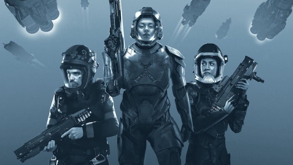 Titelbild für Kritik The Expanse Staffel 3 mit Steven Strait und seiner Crew in Raumanzügen
