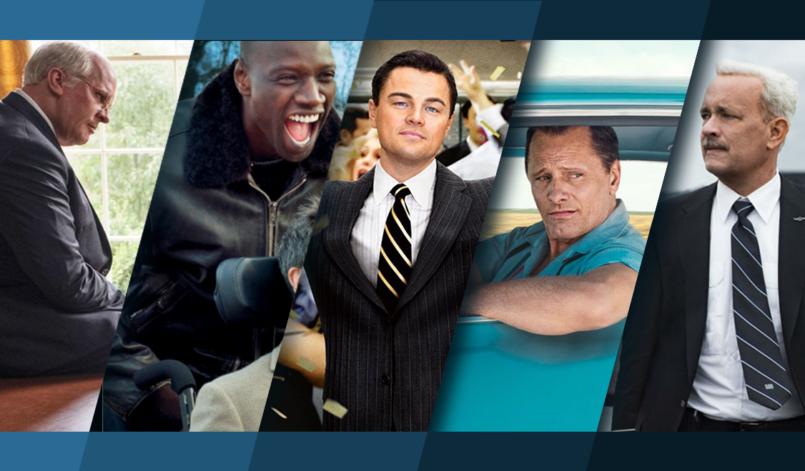 Titelbild für die Topliste Die Besten Filme nach Wahren Begebenheiten mit Christian Bale, Omar Sy, Leonardo DiCaprio, Viggo Mortensen und Tom Hanks