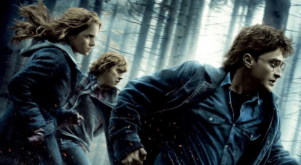 Harry, Ron und Hermine auf der Flucht durch einen Wald in Harry Potter 7 und die Heiligtümer des Todes Teil 1