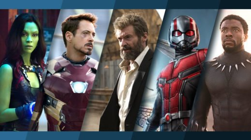 Collage der Marvel-Figuren Gamora, Iron Man, Logan the Wolverine, Ant-Man und Black Panther