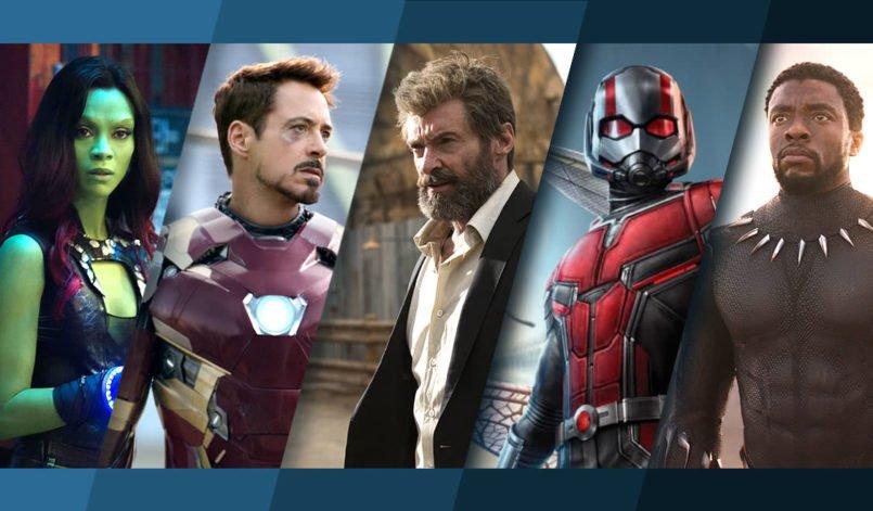 Collage der Marvel-Figuren Gamora, Iron Man, Logan the Wolverine, Ant-Man und Black Panther