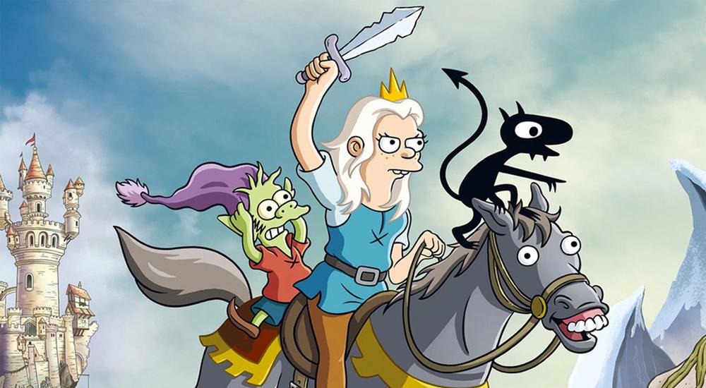 Bean, Luci und Elfo reiten auf einem Pferd in Disenchantment