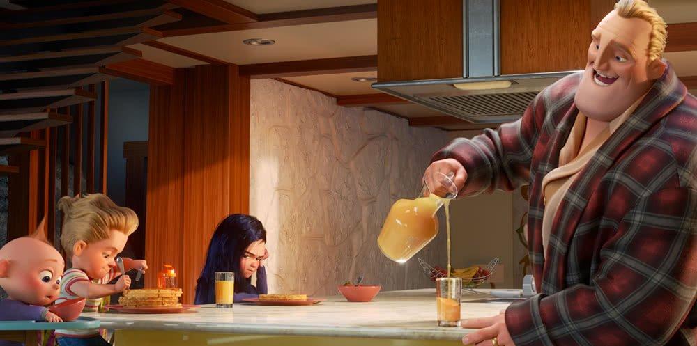 Mr.Incredible (Stimme: Craig T. Nelson) und die Parr Familie beim Frühstück.
