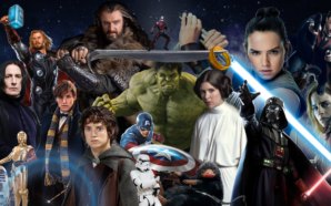 Collage von Figuren der Film Franchises Marvel Cinematic Universe, Star Wars, Harry Potter und Herr der Ringe
