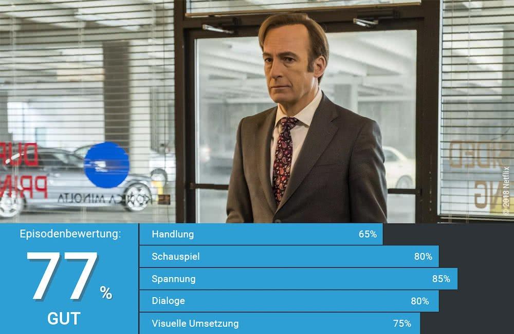 Jimmy McGill gespielt von Bob Odenkirk auf einem Weg zu einem Bewerbungsgespräch in Better Call Saul Staffel 4 Episode 2 Atmen