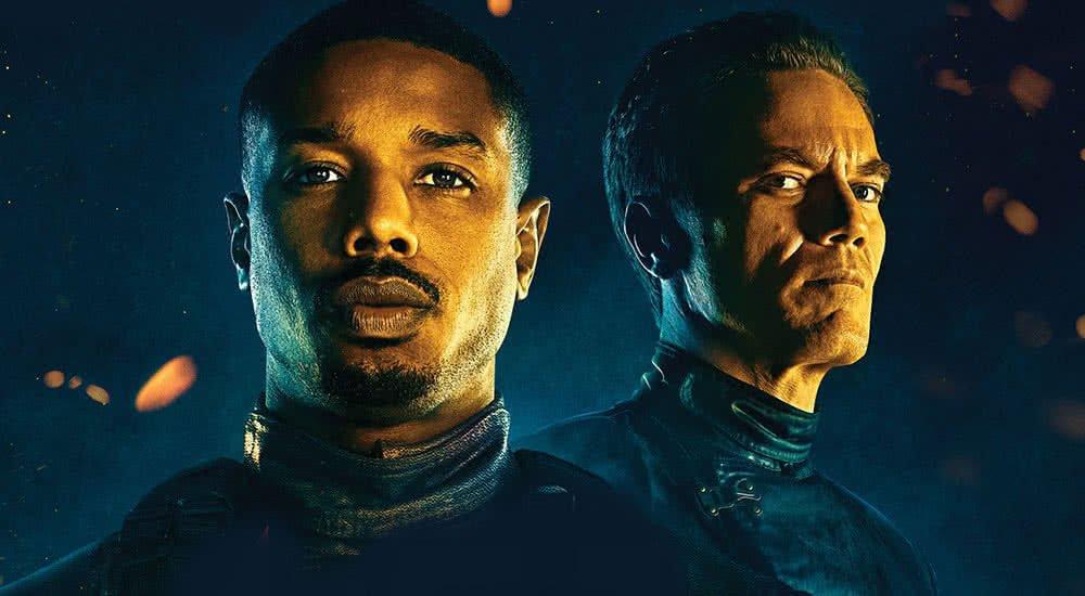 Michael B. Jordan und Michael Shannon auf dem Kinoplakat zu Fahrenheit 451