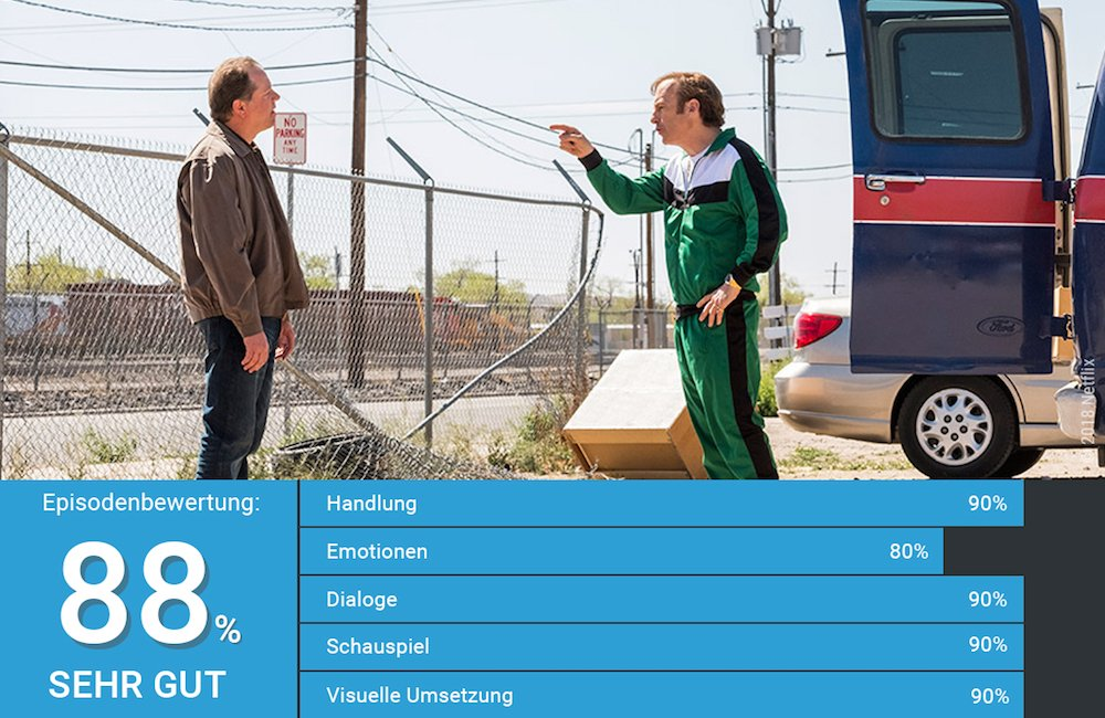 Bob Odenkirk als Jimmy McGill in einem grünen Jogginganzug in einem Szenenbild aus Better Call Saul Staffel 4 Folge 7 Something Stupid