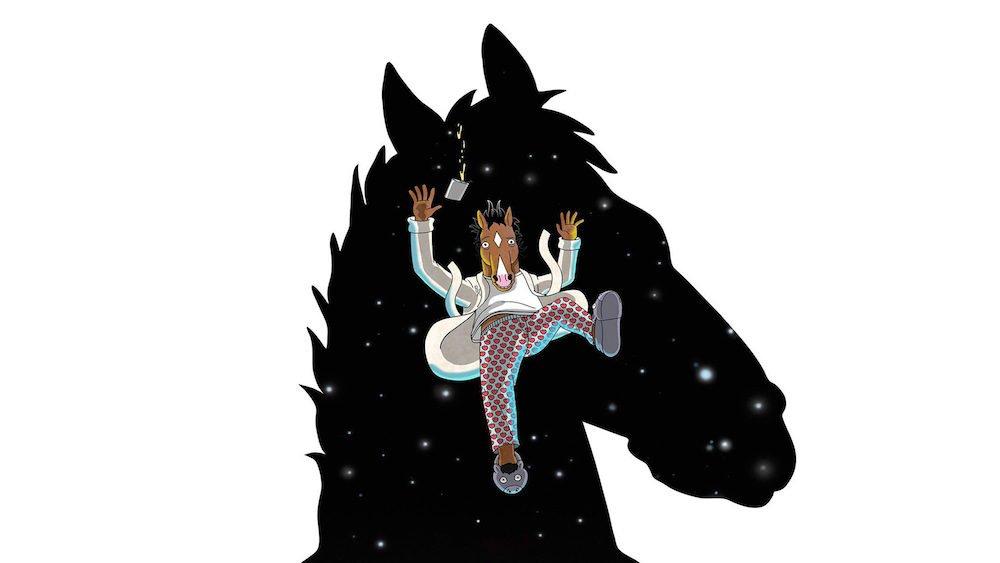 Titelbild für BoJack Horseman Staffel 5 mit BoJack durch den Weltraum fallend