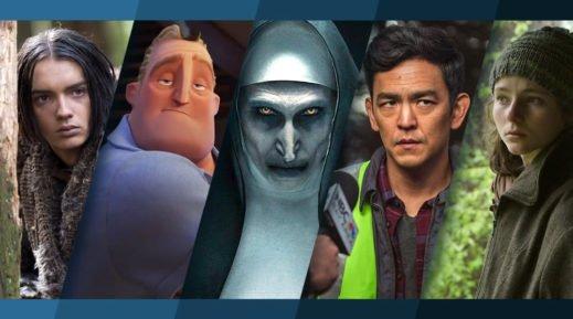 Collage der Poster der Top 5 Kinostarts im September 2018 mit Alpha, Die Unglaublichen 2, The Nun, Searching und Leave no Trace