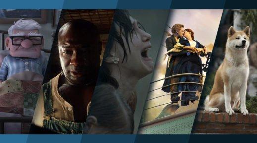 Titelbild für Topliste Top 26 Filme zum Weinen mit Bildern aus Oben, The Green Mile, Der Junge im gestreiften Pyjama, Titanic und Hachiko