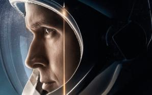 Ryan Gosling als Neil Armstrong in einem Astronautenhelm auf dem Plakat zu Aufbruch zum Mond – First Man