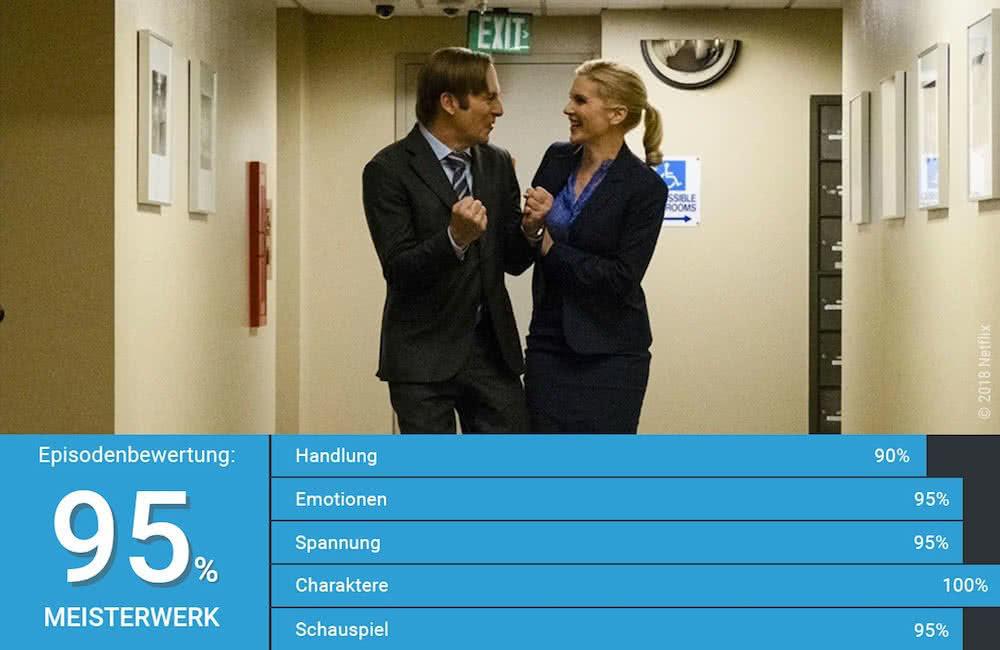 Bob Odenkirk als Jimmy McGill und Rhea Seahorn als Kim Wexler freuen sich zusammen in Better Call Saul Staffel 4 Episode 10
