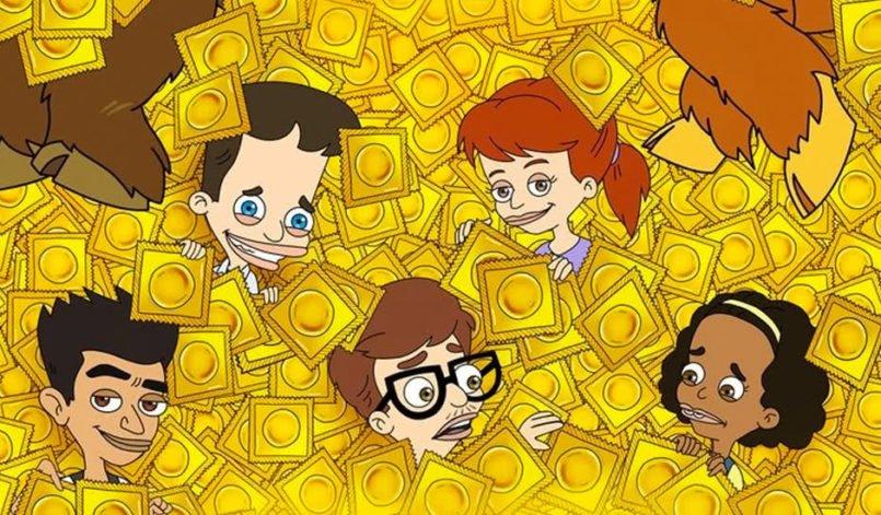Eine Gruppe Teenager schwimmt in einem Bad gelb verpackter Kondome auf dem Plakat zu Big Mouth Staffel 2
