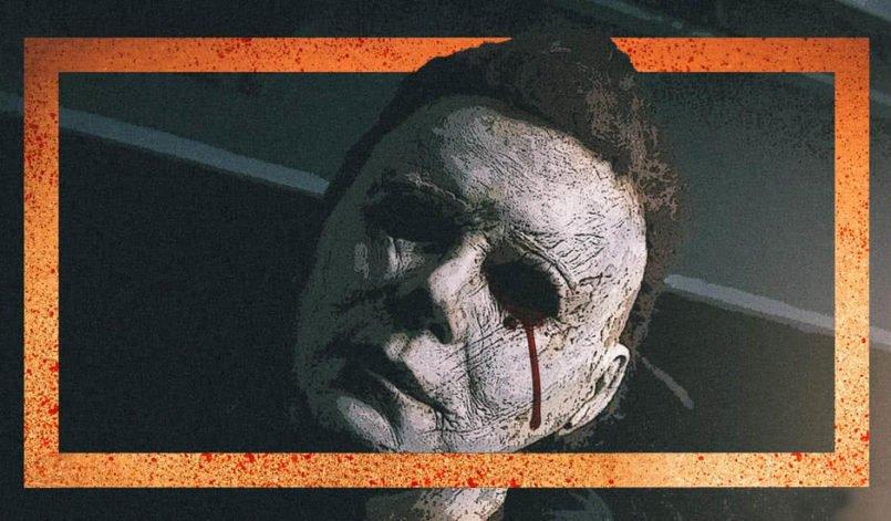 Stylisiertes Bild von Charakter Michael Myers umrahmt mit orangenen Balken auf Plakat zu Halloween 2018