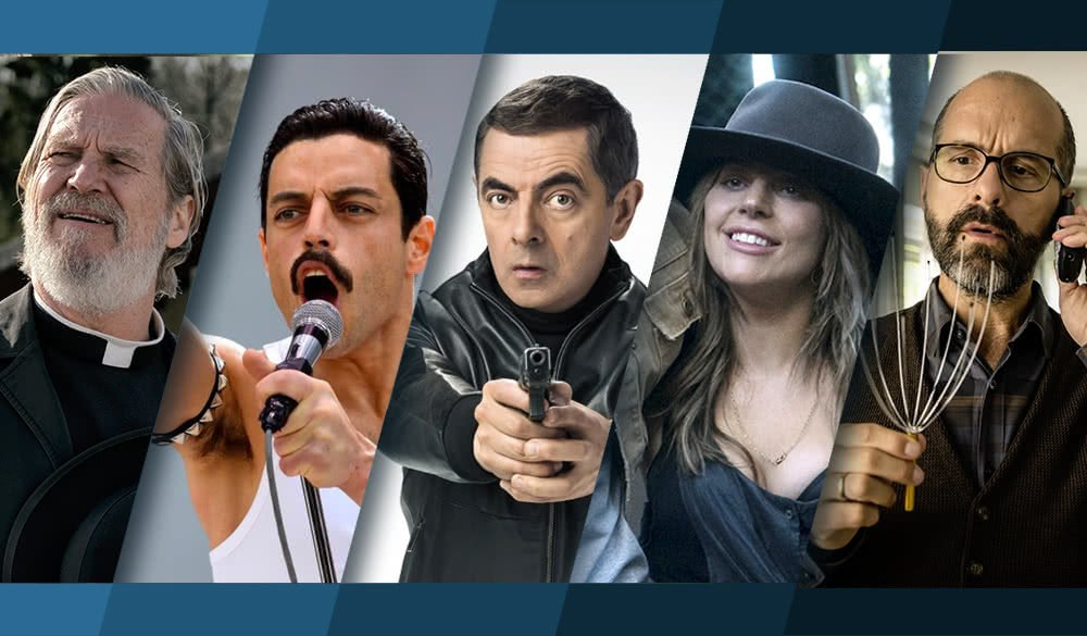 Collage von Bildern der Filme Bohemian Rhapsody, A Star is Born, Johnny English Strikes Again, Der Vorname und Bad Time at the El Royale