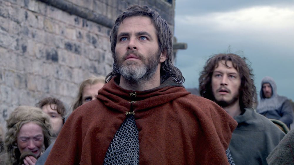 Chris Pine als Robert Bruce, Earl of Carrick in Titelbild für Kritik Outlaw King