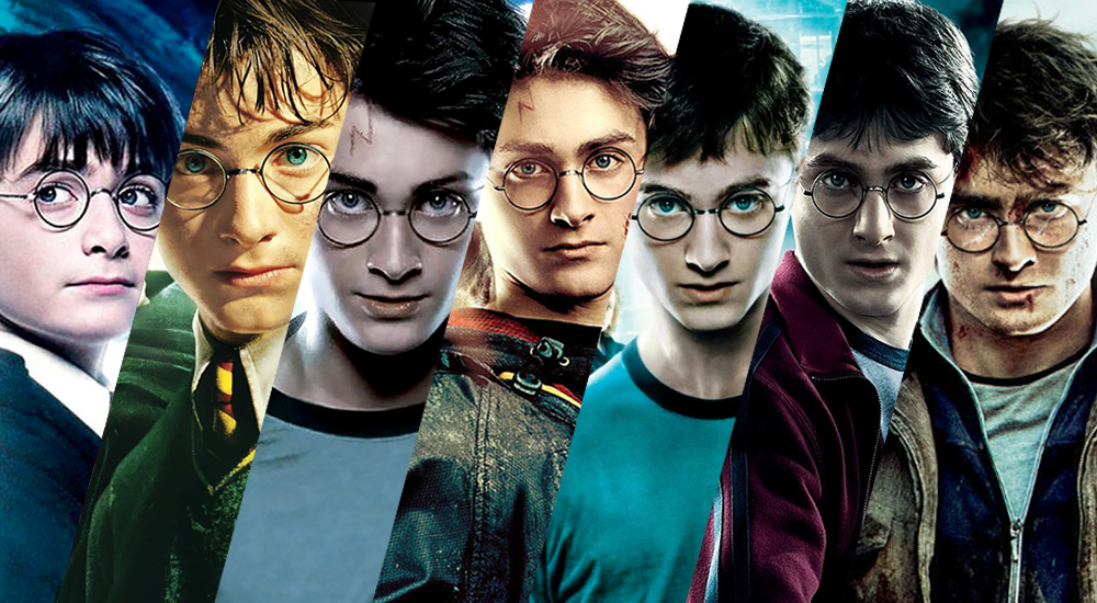 Collage der Plakate aller Harry Potter Filme mit Daniel Radcliffe als Harry Potter