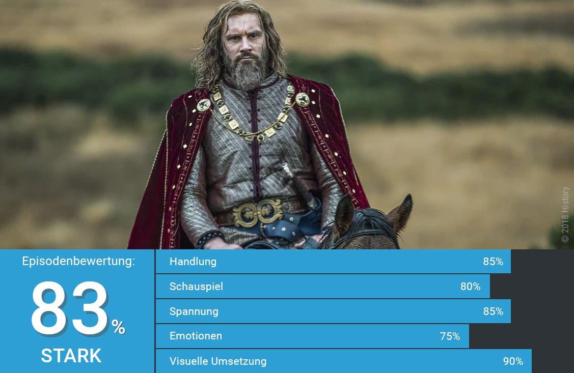 Rollo in eleganter Robe auf einem Pferd in Vikings Staffel 5 Folge 11 Insel der Steine