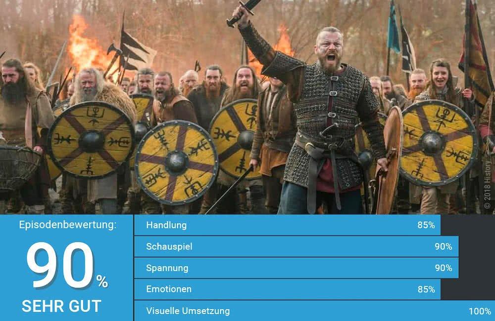 Peter Franzén als Wikinger Harald führt seine Krieger in die Schlacht in Vikings Staffel 5 Folge 15 Verbrannte Erde
