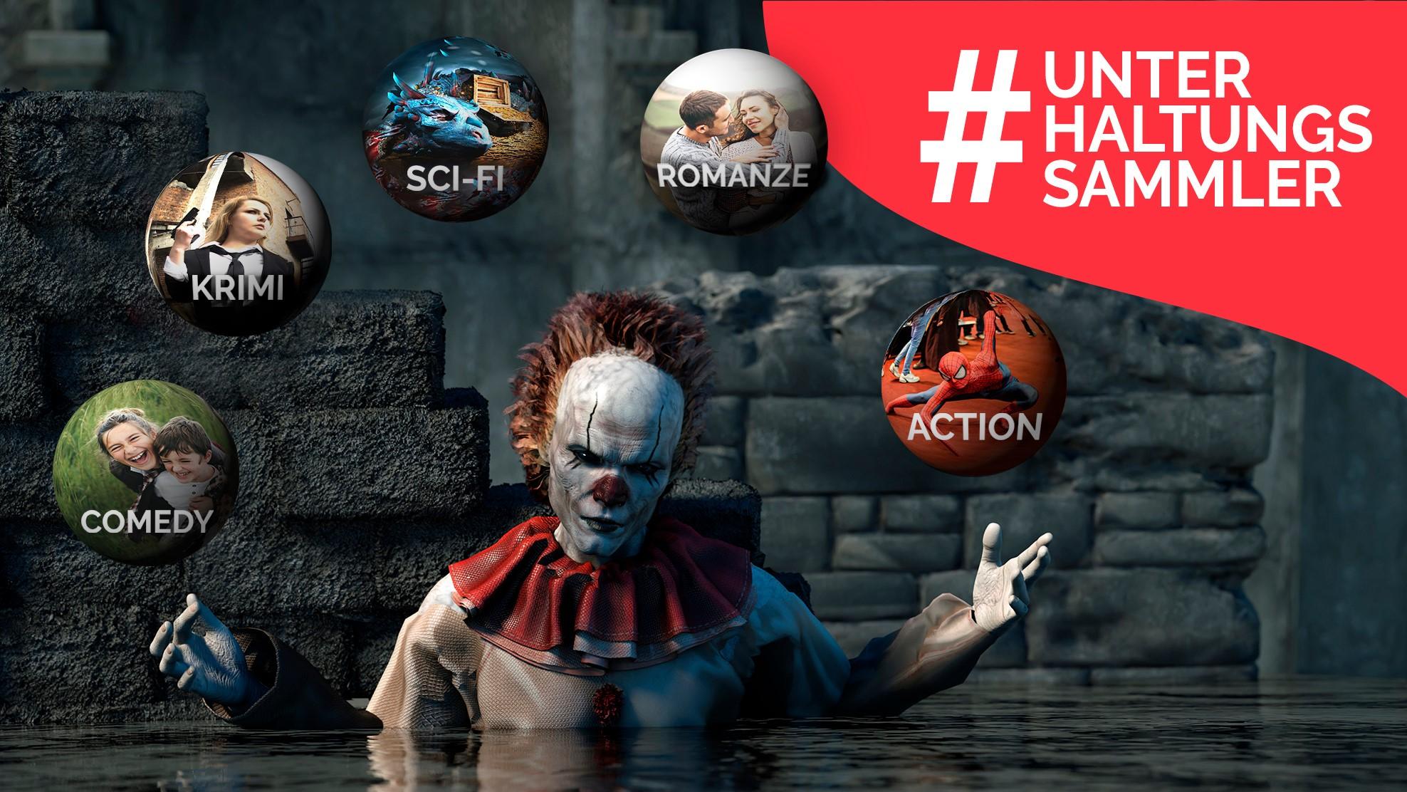 Clown aus Es jongliert mit verschiedenen Film-Genres und ein Hashtag #Unterhaltungssammler in einer Grafik für Beitrag zu Save.tv