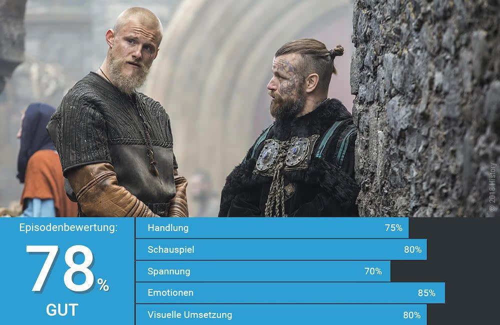 Björn Eisenseite und König Harald unterhalten sich in York in Vikings Staffel 5 Folge 17 Das Schlimmste