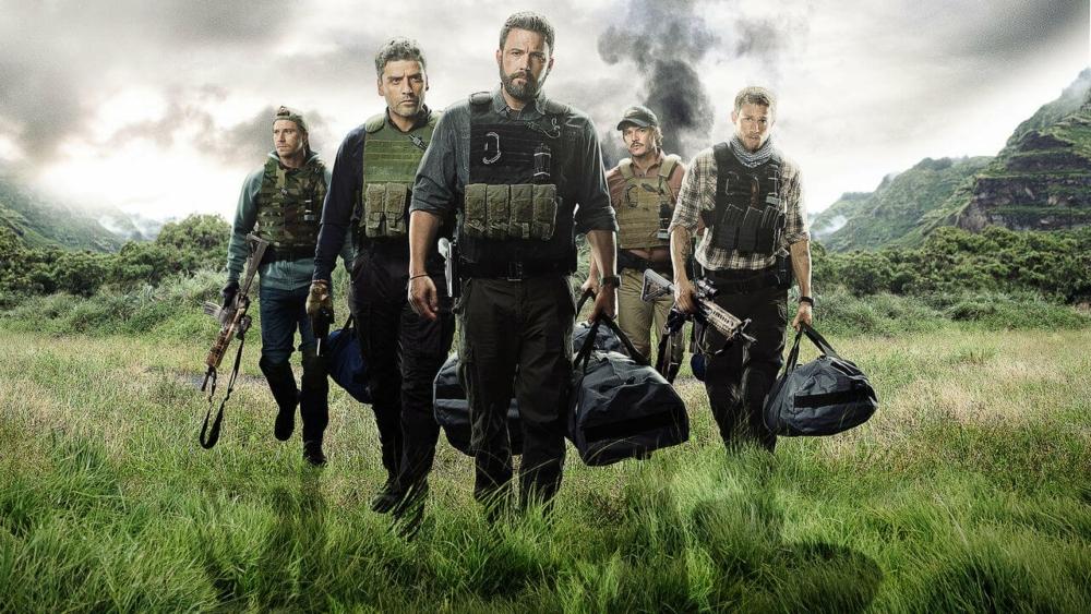 Poster für Kritik Triple Frontier mit Oscar Isaac, Ben Affleck, Pedro Pascal und Garrett Hedlund