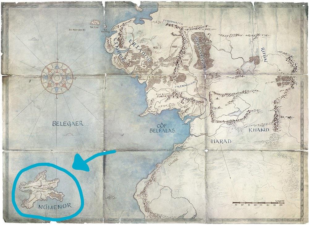 Númenor auf der Karte von Mittelerde für die Herr der Ringe Serie von Amazon