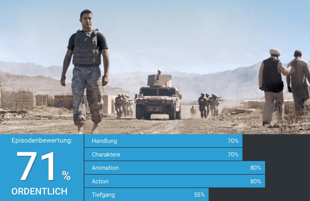 Ein Gestaltwandler-Soldat auf Patrouille in Afghanistan in Love Death Robots Staffel 1 Folge 10 Gestaltwandler