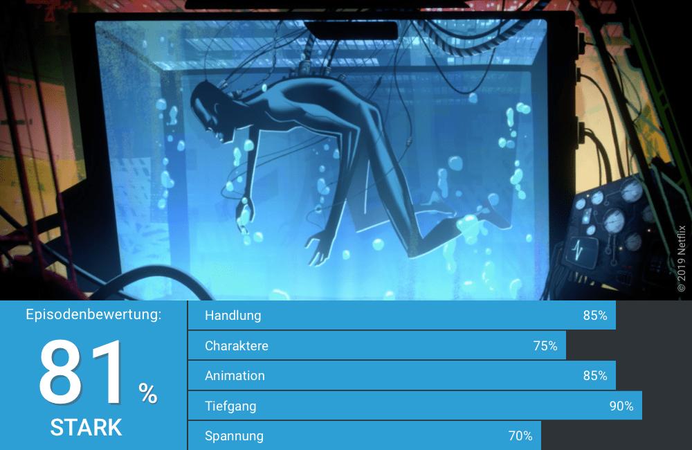 Ein Mann schwimmt in einem Glascontainer in Love Death Robots Staffel 1 Folge 14 Zima Blue