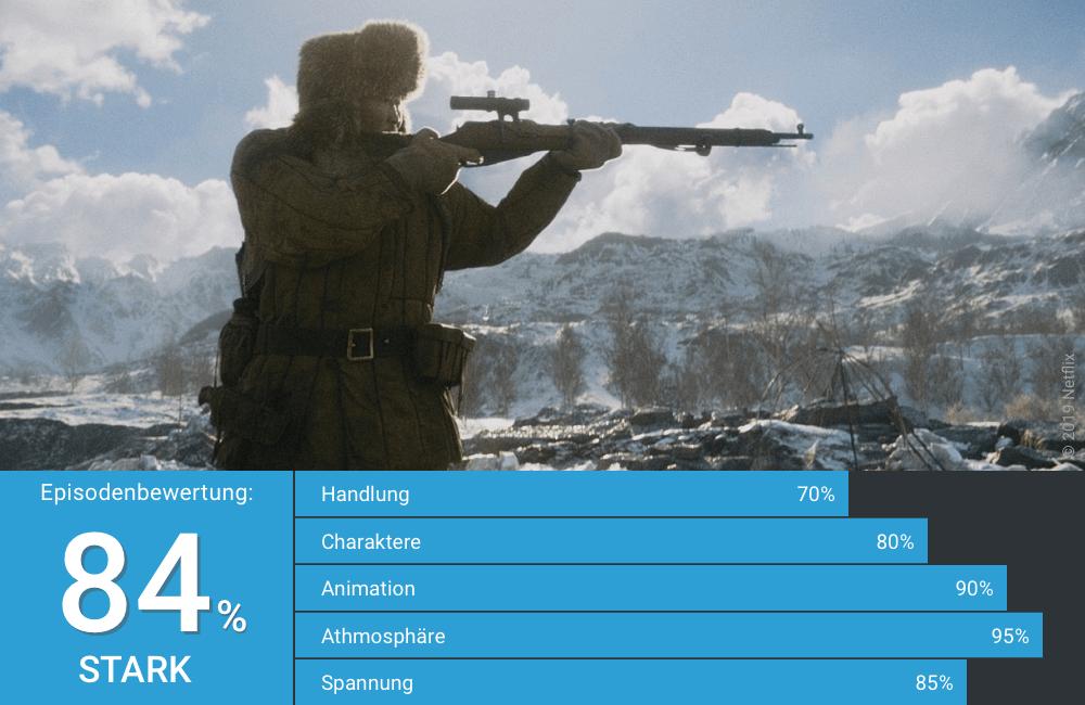 Ein sowjetischer Soldat zielt mit seinem Gewehr in Love Death Robots Staffel 1 Folge 18 Geheimkrieg
