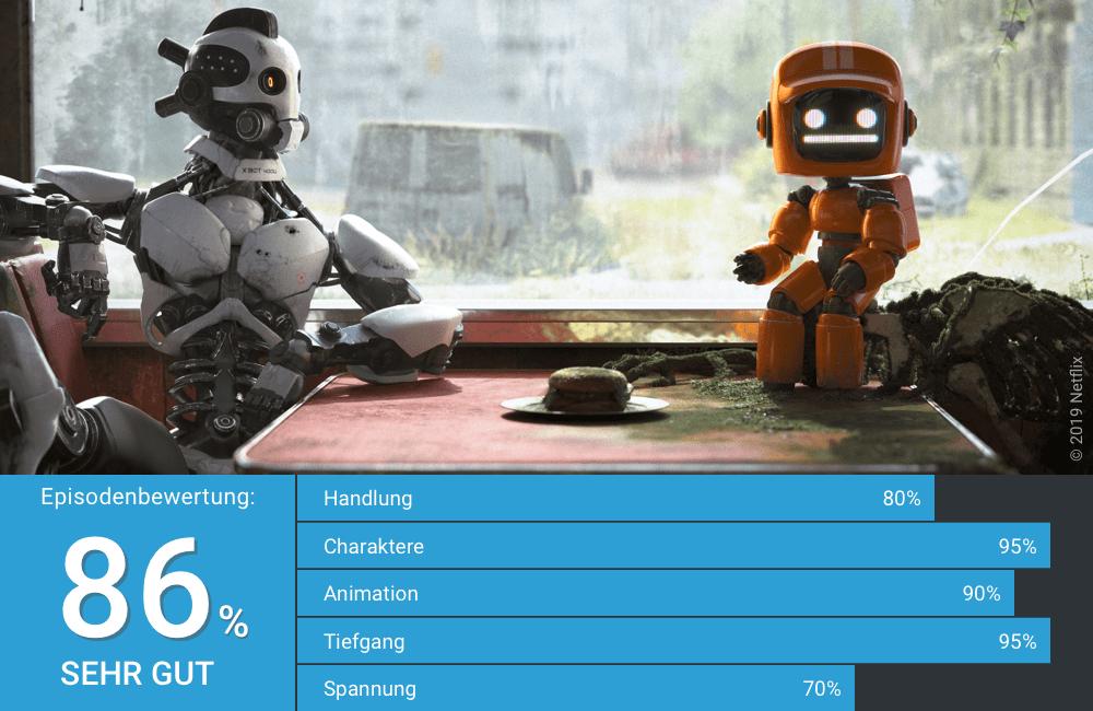 Drei Roboter sitzen in einem verlassenen Diner und unterhalten sich in Love Death Robots Staffel 1 Folge 2 Drei Roboter