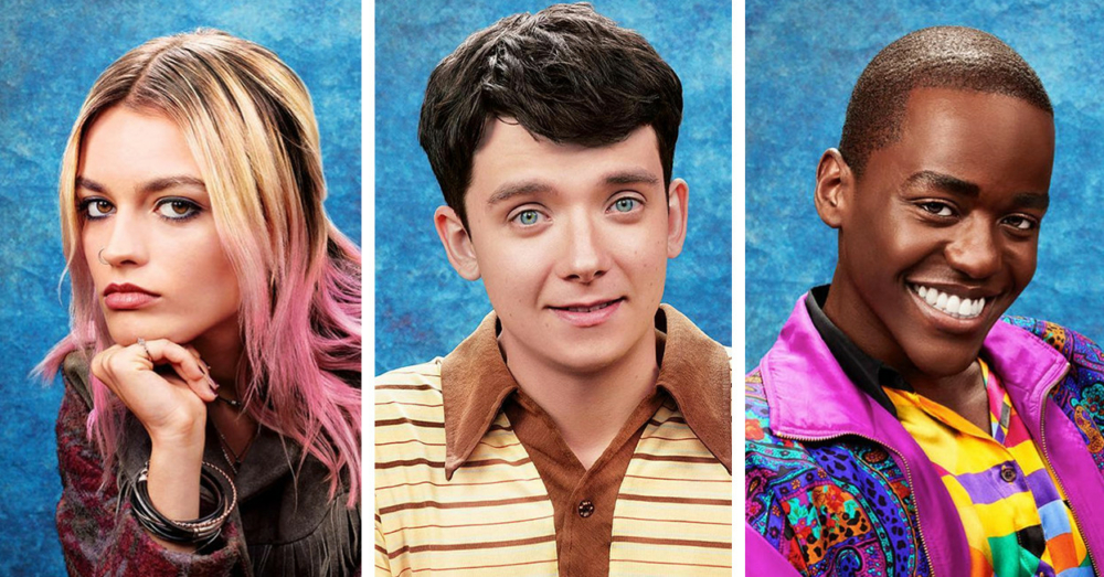 Titelbild für Kritik Sex Education Staffel 1 mit Emma Mackey, Asa Butterfield und Ncuti Gatwa