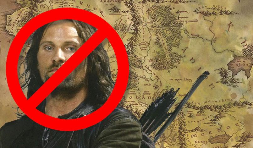 Ein durchgestrichener Aragorn vor der Karte von Mittelerde