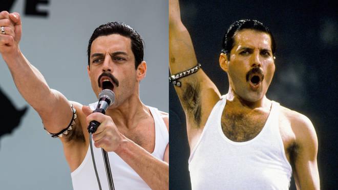 Rami Malek und Freddie Mercury im Vergleich in einem Bild für Kritik Bohemian Rhapsody