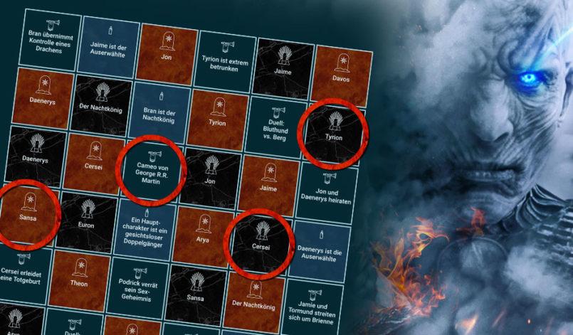Spielfeld mit Tipps des Game of Thrones Staffel 8 Tippspiels