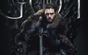 Kit Harrington als Jon Snow auf dem eisernen Thron in einem Poster für Kritik Game of Thrones Staffel 8