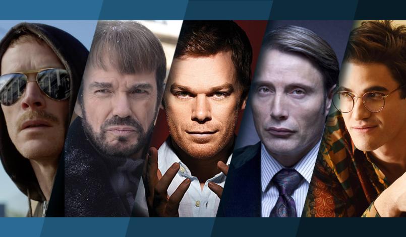 Titelbild für Topliste Die besten Serienkiller aus Serien mit theodore kaczynski, Lorne Malvo, Dexter, Hannibal Lecter, Andrew Cunanan