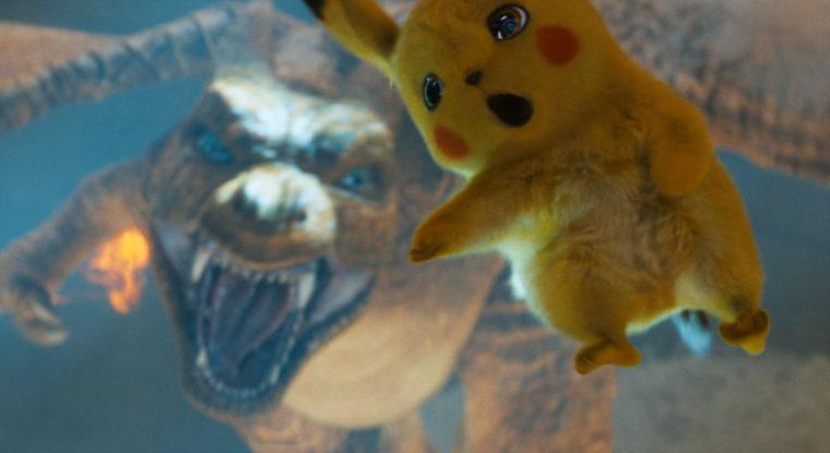 Ein Glurak greift nach einem fallenden Pikachu Ryan Reynolds)