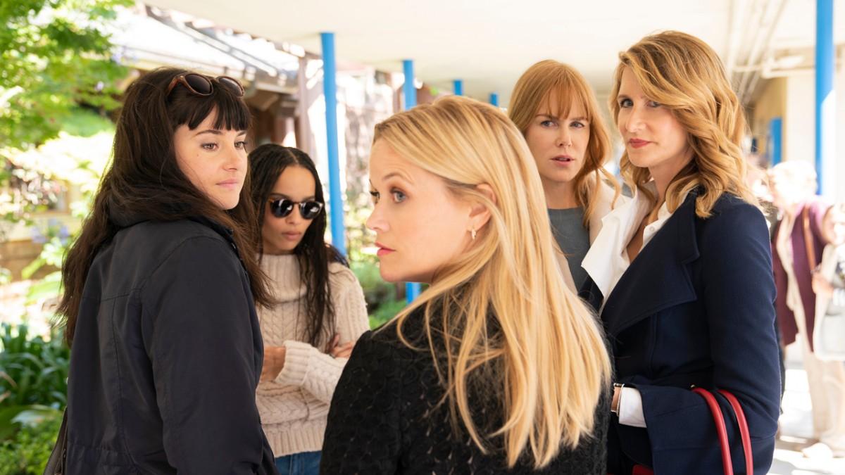 Shailene Woodley als Jane Chapman, Zoë Kravitz als Bonnie Carlson, Reese Witherspoon als Madeline Mackenzie, Nicole Kidman als Celeste Wright und Laura Dern als Renata Klein