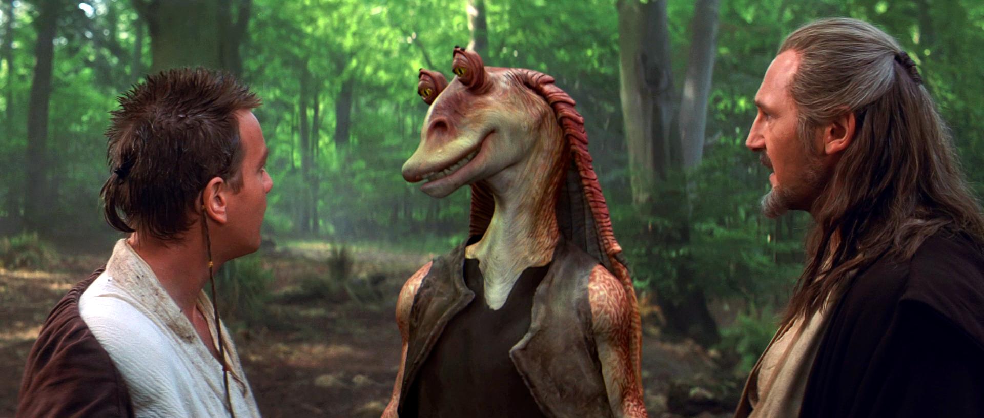 Obi-Wan Kenobi, Jar Jar Binks und Qui-Gon Jinn im Gespräch in Star Wars Episode I - Die Dunkle Bedrohung