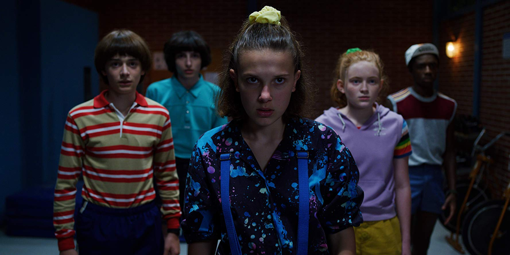 Will (Noah Schnapp), Mike (Finn Wolfhard), Eleven (Millie Bobby Brown), Max (Sadie Sink) und Lucas (Caleb McLaughlin) in Staffel drei von Stranger Things.
