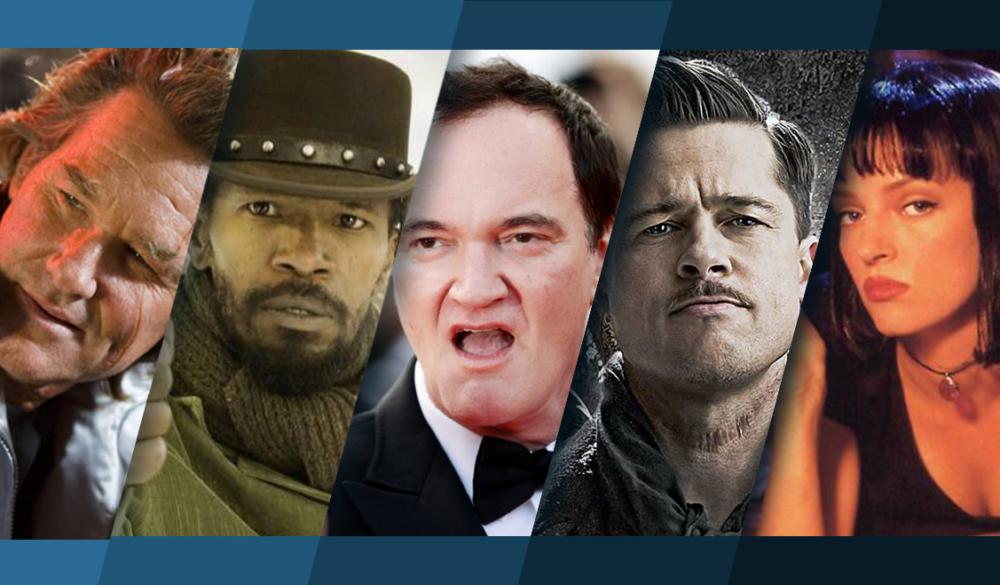 Titelbild für Topliste die besten Filme mit Quentin Tarantino mit Bildern aus Death Proof, Django Unchained, Inglorious Basterds und Pulp Fiction
