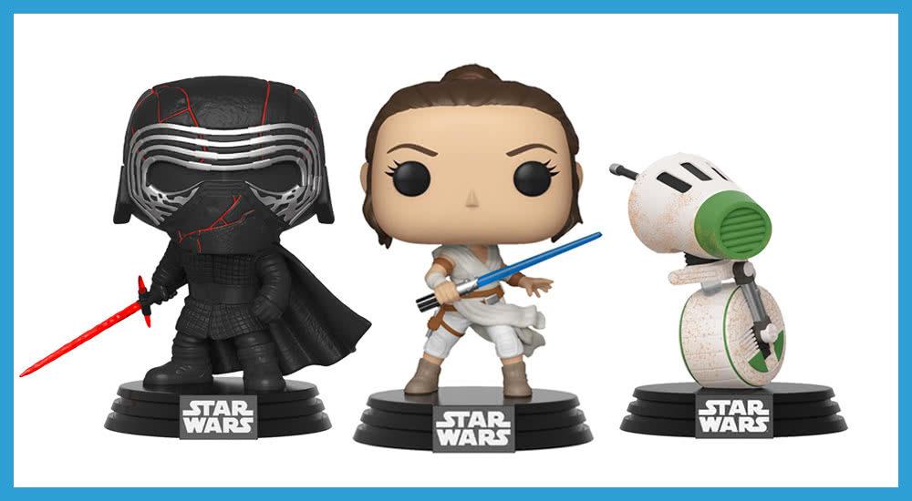 Star Wars Merchandise Funko Pops Kylo Ren und Rey und D-0