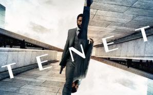 Poster für die Kritik Tenet mit John David Washington als Protagonist im Anzug in gespiegeltem Layout