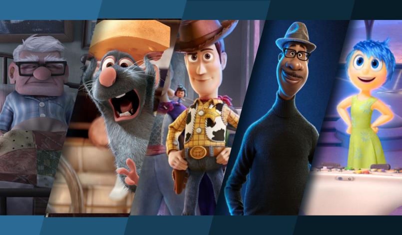 Titelbild für Artikel Die besten Pixar Filme mit Oben, Ratatouille, Toy Story, Soul und Alles steht Kopf