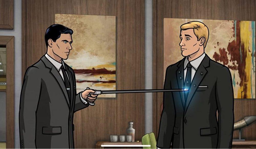 Archer (H. Jon Benjamin) versucht Barry (Dave Willis) zu schocken